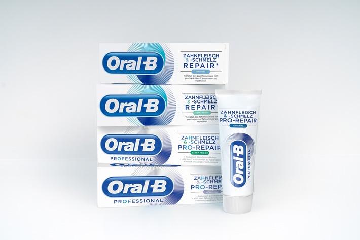 """Oral-B Professional Zahnfleisch & -schmelz PRO-REPAIR und Oral-B Zahnfleisch & -schmelz REPAIR Zahnceme Portfolio / Weiterer Text über ots und www.presseportal.de/nr/67403 / Die Verwendung dieses Bildes ist für redaktionelle Zwecke honorarfrei. Veröffentlichung bitte unter Quellenangabe: """"obs/Oral-B"""""""