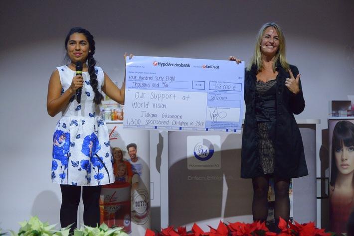 v.l.n.r.: Juliana Gössmann (Referentin Unternehmenskooperationen bei World Vision) und Vicki Sorg (Charity-Botschafterin bei PM-International) bei der Scheckübergabe in Alpbach.