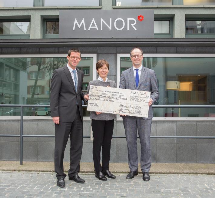 Manor dona gioia - 275 000 franchi devoluti alla Fondazione Cerebral