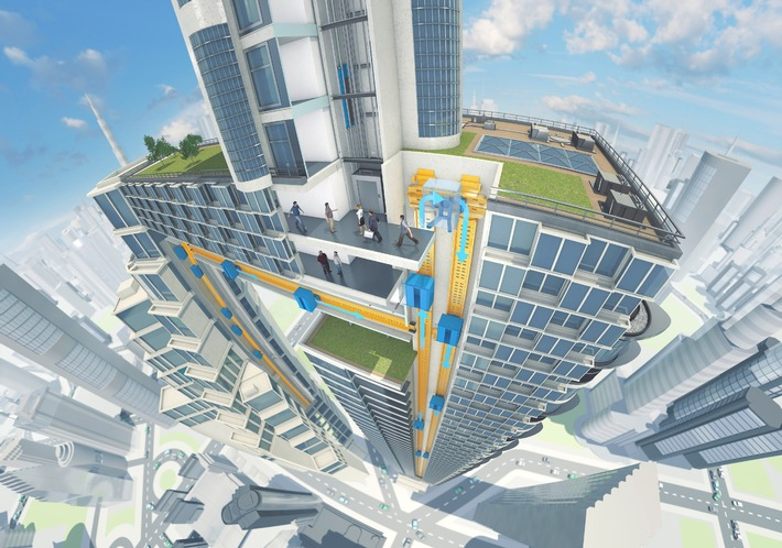 ThyssenKrupp develops the world's first rope-free elevator system to enable the building industry face the challenges of global urbanization