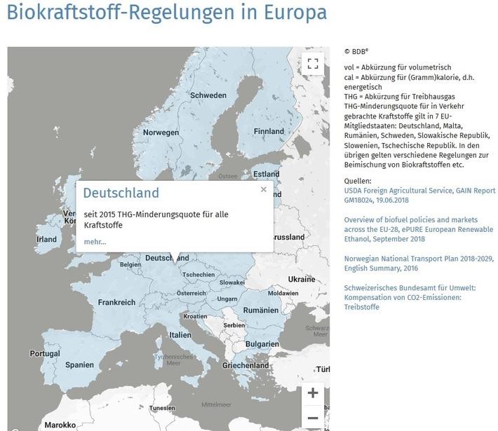 """Biokraftstoff-Regelungen in 30 europäischen Ländern - interaktive Karte (https://www.bdbe.de/daten/bioethanol-weltweit) / Weiterer Text über ots und www.presseportal.de/nr/73390 / Die Verwendung dieses Bildes ist für redaktionelle Zwecke honorarfrei. Veröffentlichung bitte unter Quellenangabe: """"obs/Bundesverband der deutschen Bioethanolwirtschaft e. V./BDBe"""""""