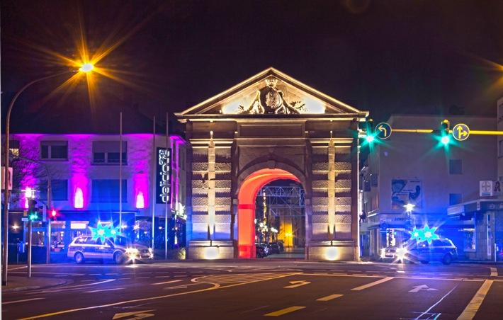 Polizei in Frankenthal bei Nacht