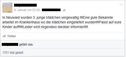 POL-PPKO: Facebook-Eintrag über angebliche Vergewaltigungen in Neuwied