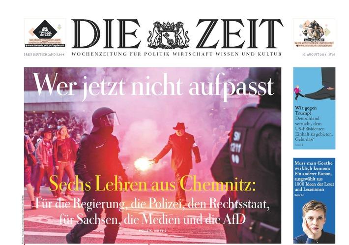 DIE ZEIT 36/18. Weiterer Text ber ots und www.presseportal.de/nr/9377 / Die Verwendung dieses Bildes ist fr redaktionelle Zwecke honorarfrei. Verffentlichung bitte unter Quellenangabe: