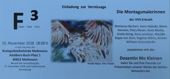 """Flyer zur Ausstellung """"F3 - Farbe, Fläche, Form"""