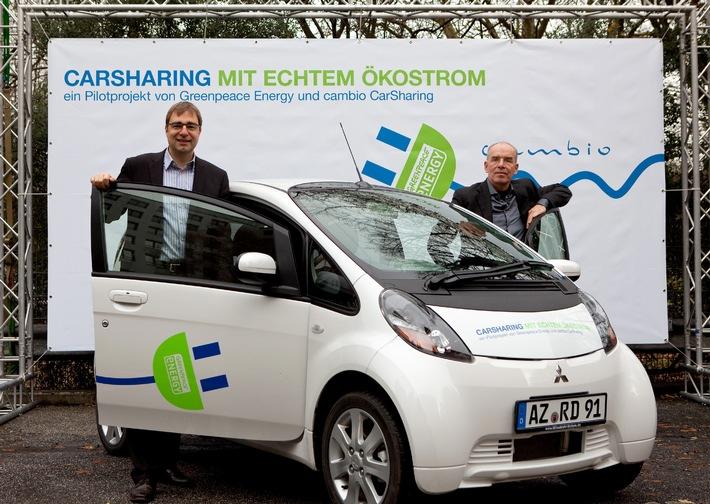 carsharing mit echtem kostrom greenpeace energy und cambio carsharing starten presseportal. Black Bedroom Furniture Sets. Home Design Ideas