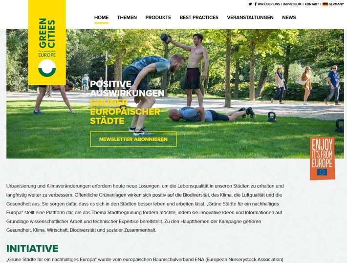 Screenshot von www.thegreencity.eu/ENA/BdB. Launch der Website und Social-Media-Kanle zur Kampagne