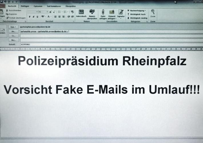 Polizeipräsidium Rheinpfalz Warnung vor SPAM-Emails mit unserem Namen