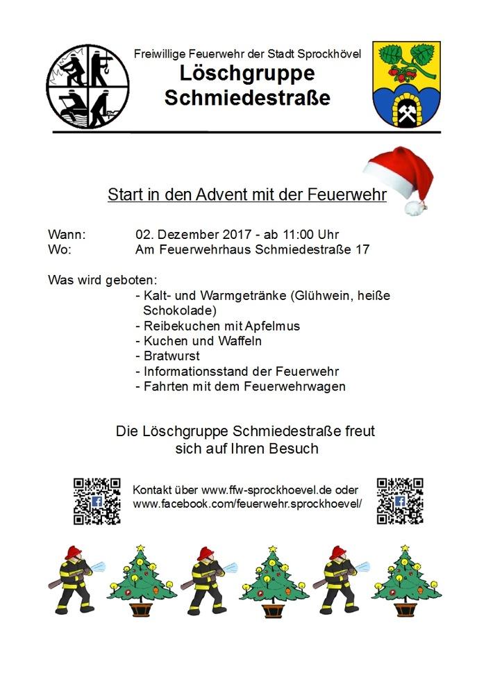 Plakat Start in den Advent mit der Feuerwehr