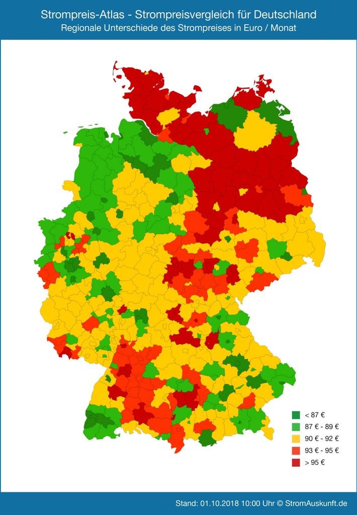 """Der Strompreis - Atlas visualisiert deutschlandweit die aktuellen monatlichen Strompreise für 1437 Städte, Landkreise und kreisfreie Städte an. Die Strompreise sind farblich unterschiedlich dargestellt (rot = teuer, grün = günstig), so dass die Karte auf einen Blick zeigt, wo Strom in Deutschland eher günstig oder teurer ist. Grundlage ist ein Jahresverbrauch von 3500 kWh. Weiterer Text über ots und www.presseportal.de/nr/58601 / Die Verwendung dieses Bildes ist für redaktionelle Zwecke honorarfrei. Veröffentlichung bitte unter Quellenangabe: """"obs/Stromauskunft.de/StromAuskunft.de / Heidjann GmbH"""""""