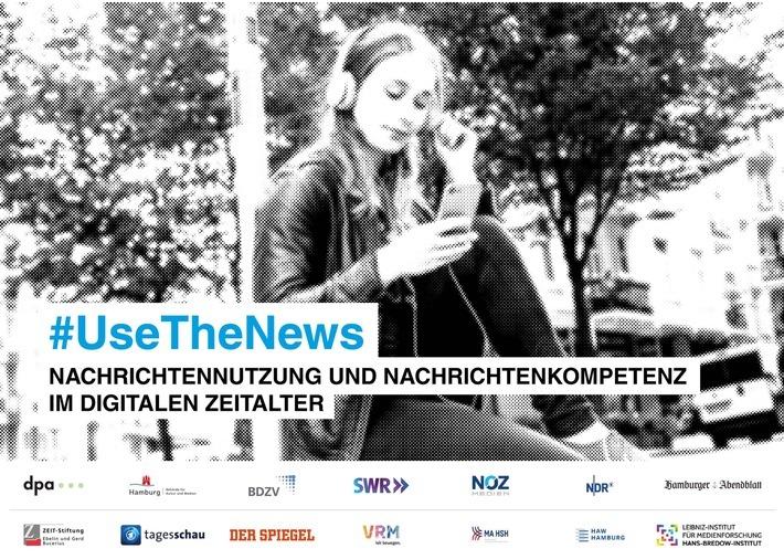 """""""use the news - Nachrichtennutzung und Nachrichtenkompetenz im digitalen Zeitalter"""" - Forschungsprojekt von dpa zusammen mit Partnern aus Medien, Wissenschaft, öffentlichen Institutionen und Zivilgesellschaft / Weiterer Text über ots und www.presseportal.de/nr/8218 / Die Verwendung dieses Bildes ist für redaktionelle Zwecke honorarfrei. Veröffentlichung bitte unter Quellenangabe: """"obs/dpa Deutsche Presse-Agentur GmbH/Grafik: dpa"""""""