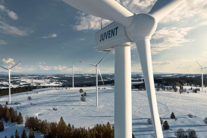 Windkraftwerk JUVENT SA: Produktionsausbau, Baubeginn zweites Repowering