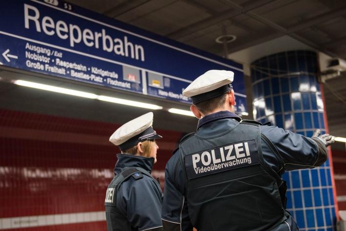 Eine Streife der Bundespolizei im S-Bahnhaltepunkt Reeperbahn- Symbolfoto: Bundespolizei-
