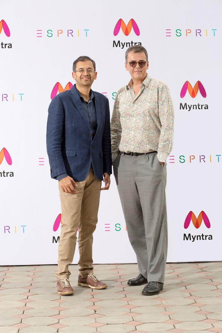 """Esprit schließt mit Myntra Partnerschaft für eine erfolgreiche Rückkehr nach Indien / Ausbau des breit gefächerten Online-Vertriebs und Eröffnung von 15 Filialen in den nächsten fünf Jahren / Esprit gab heute bekannt, dass es exklusive Vertriebs- und Managementrechte in Indien an Indiens größte Mode- und Lifestyle-Shopping-Plattform Myntra vergeben hat. Ziel ist es, in den nächsten fünf Jahren etwa 15 Esprit Stores in Indien zu eröffnen. Gleichzeitig werden die Esprit Produkte auch exklusiv auf den Online-Plattformen Myntra und Jabong verfügbar sein. (Foto: Ananth Narayanan, CEO of Myntra & Jabong und Guilluame Thery, General Manager APAC von Esprit). Weiterer Text über ots und www.presseportal.de/nr/102639 / Die Verwendung dieses Bildes ist für redaktionelle Zwecke honorarfrei. Veröffentlichung bitte unter Quellenangabe: """"obs/Esprit Holdings Limited"""""""