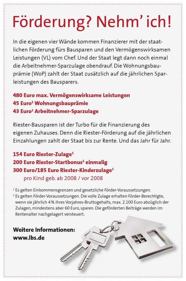 """Mit staatlicher Förderung ins eigene Zuhause. Weiterer Text über ots und www.presseportal.de/nr/56890 / Die Verwendung dieses Bildes ist für redaktionelle Zwecke honorarfrei. Veröffentlichung bitte unter Quellenangabe: """"obs/LBS West"""""""