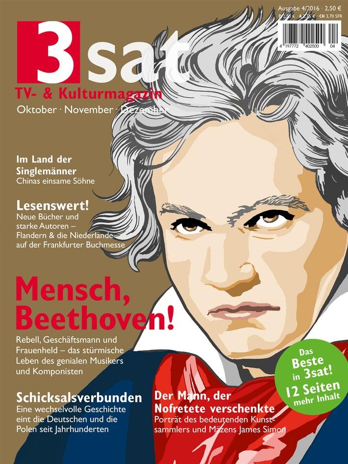 """Mensch, Beethoven! Eine neue Reihe zum Leben des genialen Musikers im aktuellen """"3sat TV- & Kulturmagazin"""" / Mit dem Besten aus 3sat von Oktober bis Dezember / ab 16. September 2016 im Handel"""