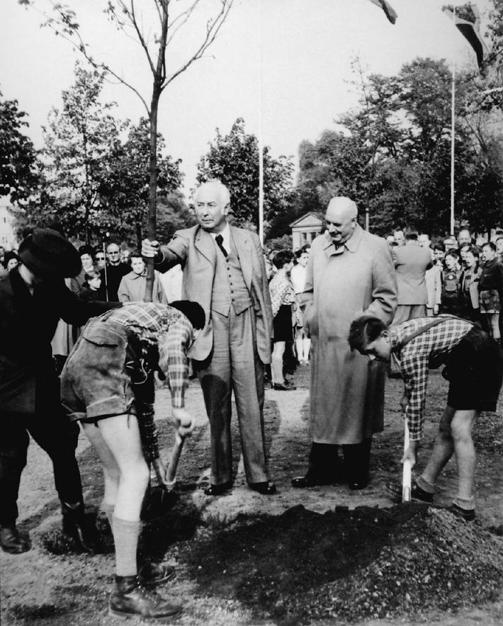 """Am 25. April 1952 fand der """"Tag des Baumes"""" zum ersten Mal in Deutschland statt. Der erste Bundespräsident Theodor Heuss pflanzte gemeinsam mit dem Präsidenten der Schutzgemeinschaft Deutscher Wald und Bundesinnenminister  Robert Lehr einen Ahornbaum  im Bonner Hofgarten. Der erste """"Tag des Baumes"""" war durch die Nachkriegssituation geprägt. Er wies auf die Gefahr des Kahlschlages auf Grund zugesagter Reparationsleistungen hin. Am 50. Tag des Baumes pflanzen Fielmann und die Schutzgemeinschaft Deutscher Wald gemeinsam mit dem Bundestagspräsidenten, der Verbraucherschutzministerin und mehr als zehn Ministerpräsidenten, Ministern sowie Oberbürgermeistern über  500 Bäume in den Landeshauptstädten.Die Verwendung dieses Bildes ist für redaktionelle Zwecke honorarfrei. Abdruck bitte unter Quellenangabe: """"obs/Fielmann AG"""""""