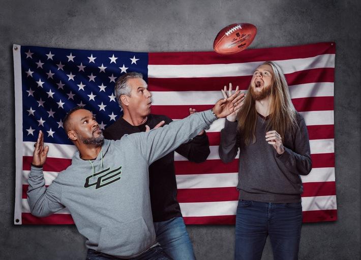 """ProSieben-Super-Bowl-Team steht: Jan Stecker, Patrick Esume, Sebastian Vollmer und Christoph """"Icke"""" Dommisch berichten live aus Minneapolis am 4. Februar 2018"""
