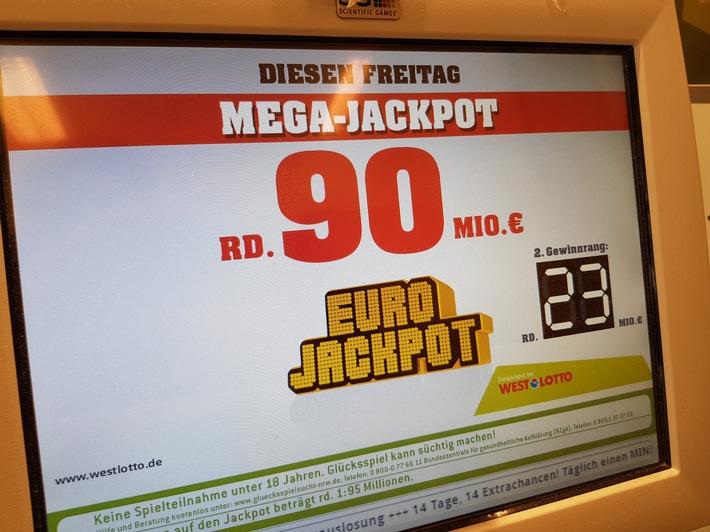 """Mega-Jackpot von 90 Millionen Euro auch kommende immer noch zu haben Weiterer Text über ots und www.presseportal.de/nr/107909 / Die Verwendung dieses Bildes ist für redaktionelle Zwecke honorarfrei. Veröffentlichung bitte unter Quellenangabe: """"obs/Eurojackpot/Bodo Kemper"""""""