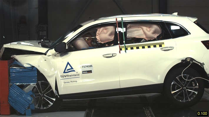 "In an offset frontal crash that was conducted according to Euro NCAP requirements, the Borgward BX7 did extremely well as it sped at 64 km/h into a deformable barrier with a 40 percent overlap. The deceleration values for the occupants are mostly in non-critical range, and the risk of injuries is low. Borgward Group AG / Weiterer Text über ots und www.presseportal.de/nr/115998 / Die Verwendung dieses Bildes ist für redaktionelle Zwecke honorarfrei. Veröffentlichung bitte unter Quellenangabe: ""obs/BORGWARD Group AG"""
