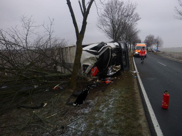 Unfall mit schwerverletzter Person - L386 zwischen Flomborn und Stetten