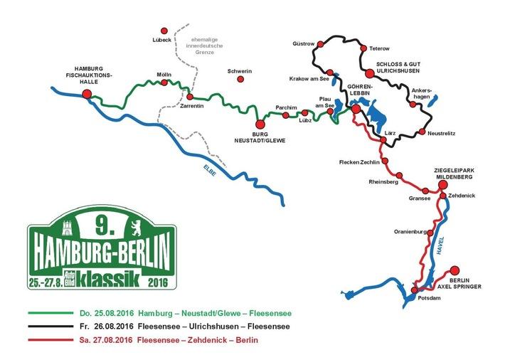 9. Hamburg-Berlin-Klassik 2016: 180 Oldtimer im Land der Tausend Seen