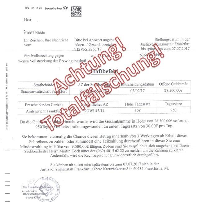 Pol Gi Haftbefehle Im Briefkasten Sind Totalfälschungen