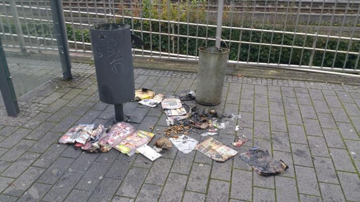 Der verbrannte Inhalt des Mülleimers