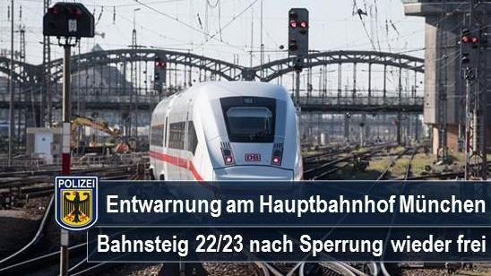 Keine Gefahr für Reisende - herrenlose Gepäckstücke am Hauptbahnhof München führen zu kurzzeitiger Sperrung der Bahnsteige 22/23