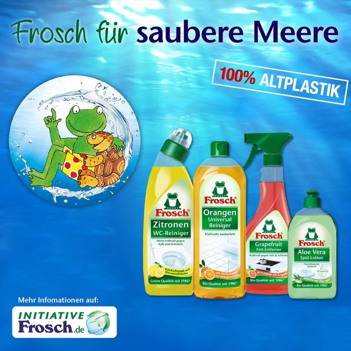 """Der """"Frosch"""" erhält renommierten Marken-Award für seine Nachhaltigkeitsstrategie / """"Saubere Meere""""-Kampagne zu Verpackungen aus Altplastik überzeugte die Fachjury / Mit der Frosch """"Saubere Meere"""" Kampagne konnten die Verbraucher und die Jury des Marken-Awards überzeugt werden. Weiterer Text über ots und www.presseportal.de/nr/75723 / Die Verwendung dieses Bildes ist für redaktionelle Zwecke honorarfrei. Veröffentlichung bitte unter Quellenangabe: """"obs/Werner & Mertz GmbH/Grafik Frosch"""""""