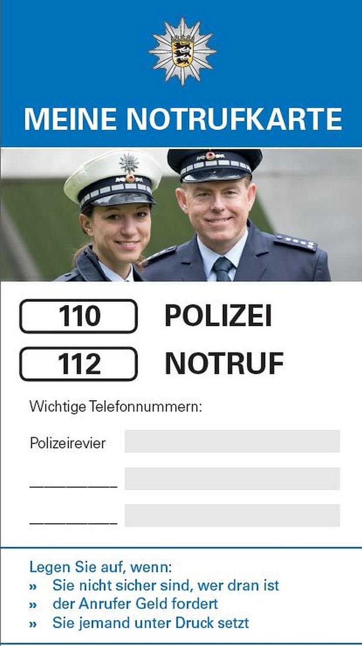 Ist Bestandteil des Info-Flyers der Polizei für Senioren: Die Notrufkarte.