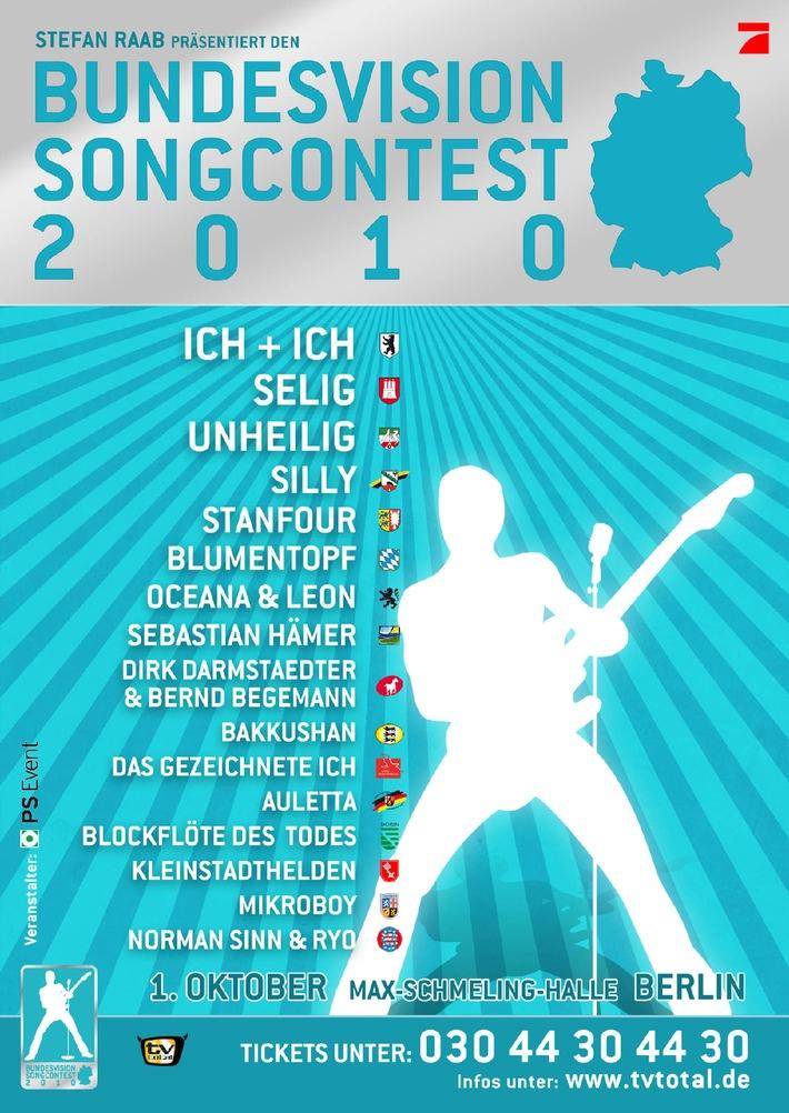 """Stefan Raab bringt Song Contest nach Berlin: Der """"Bundesvision Song Contest 2010"""" mit Ich + Ich, Unheilig und Selig (mit Bild)"""