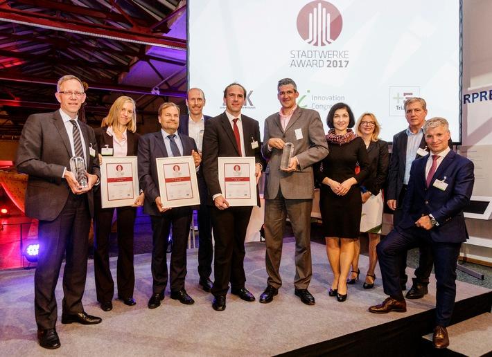 Die Gewinner des STADTWERKE AWARD 2017 kommen aus Emden, Crailsheim und Schweinfurt