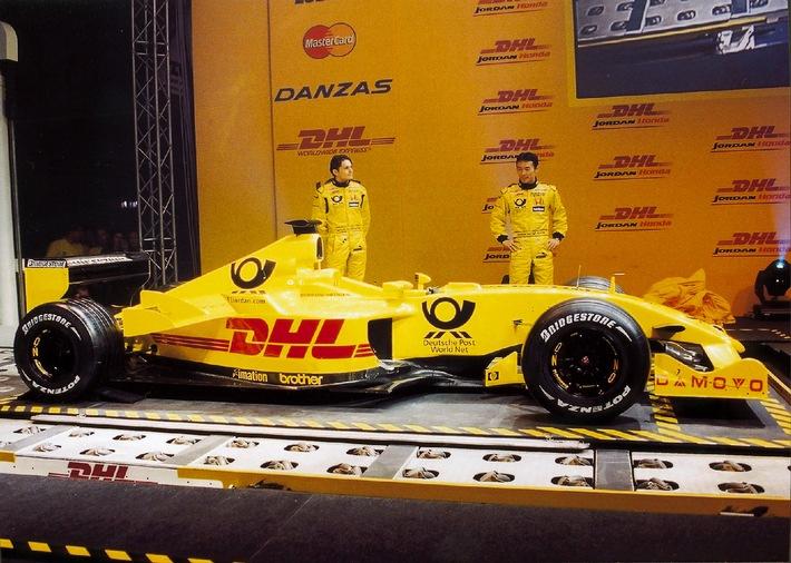 Deutsche Post World Net Titelsponsor von Jordan Grand Prix / Neuer Formel 1 Rennwagen des DHL-Jordan-Honda Teams vorgestellt