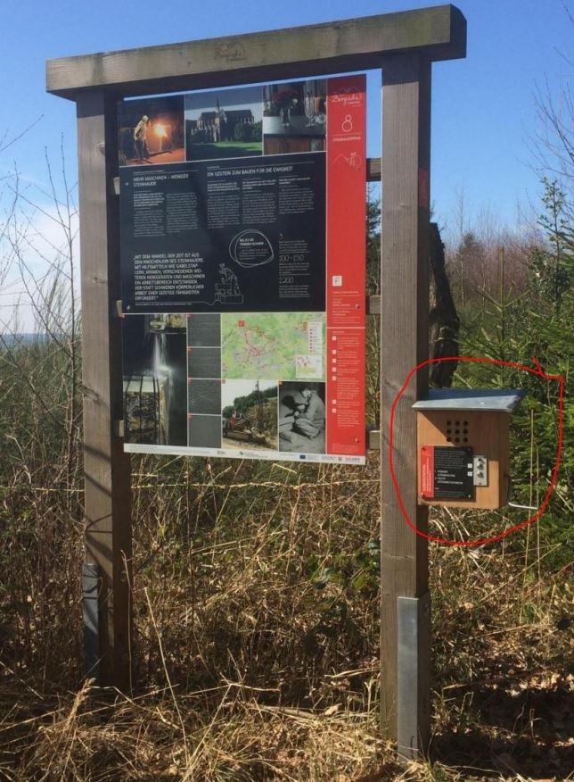 In einem Waldgebiet an der Brungersstraße in Lindlar ist eine Audiostation von einer Informationstafel an einem Lehrpfad gestohlen worden. Festgestellt wurde der Diebstahl am 15.04.2018