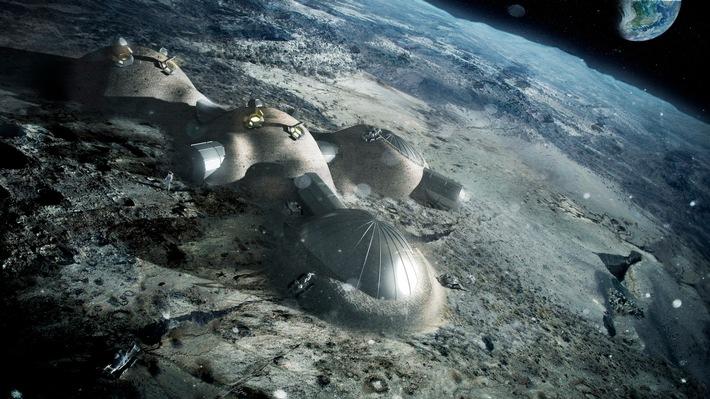 Die Mondbasis Moon-Village, wie die ESA sie sich vorstellt. (c)ESA_Foster+Partners