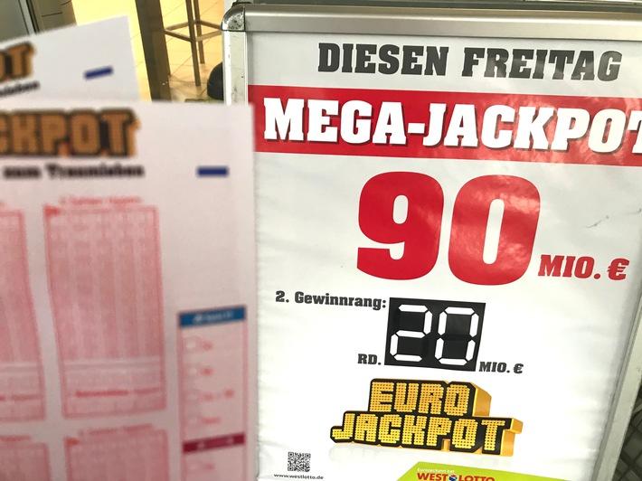 """Der Mega-Jackpot von 90 Millionen wurde nicht geknackt und bleibt somit die dritte Woche in Folge stehen. Das ist bei der Lotterie Eurojackpot, die im Jahr 2012 startete, zuvor noch nie passiert. Copyright WestLotto Weiterer Text über ots und www.presseportal.de/nr/107909 / Die Verwendung dieses Bildes ist für redaktionelle Zwecke honorarfrei. Veröffentlichung bitte unter Quellenangabe: """"obs/Eurojackpot"""""""