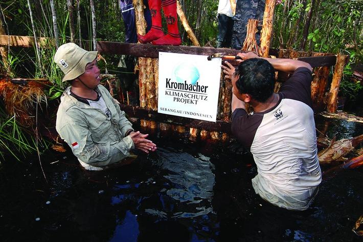 """10 Jahre Krombacher Klimaschutz-Projekt auf Borneo - Klimanutzen bei 3 Millionen Tonnen CO2 pro Jahr. Weiterer Text über ots und www.presseportal.de/nr/42000 / Die Verwendung dieses Bildes ist für redaktionelle Zwecke honorarfrei. Veröffentlichung bitte unter Quellenangabe: """"obs/Krombacher Brauerei GmbH & Co."""""""