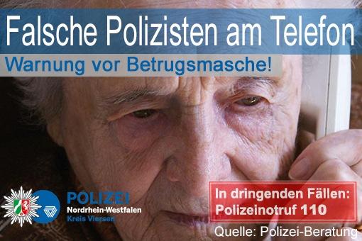 POL-VIE: Viersen: Viersener Senior wird Opfer falscher Polizeibeamter