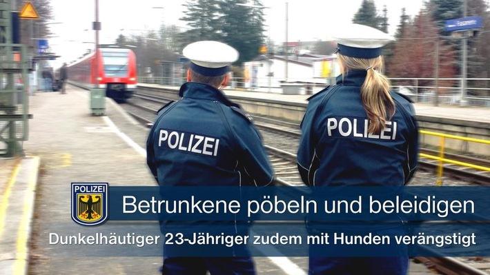 Zwei Männer und eine Frau beleidigten in alkoholisiertem Zustand am Münchner S-Bahnhaltepunkt Fasanerie einen dunkelhäutigen 23-Jährigen rassistisch und verängstigten ihn durch das Aufhetzen ihrer Hunde. Die drei konnten durch die Polizei gestellt werden.