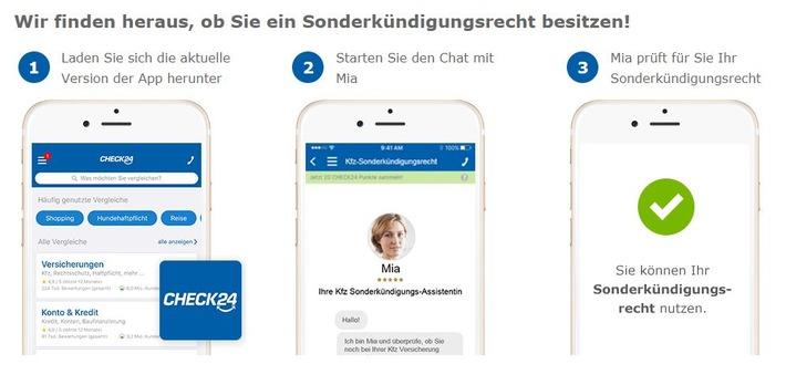 """Kfz-Versicherung: Digitale Assistentin """"Mia"""" hilft Verbrauchern bei Sonderkündigung. CHECK24 (www.check24.de/kfz-versicherung/; 089 - 24 24 12 12). Weiterer Text über ots und www.presseportal.de/nr/73164 / Die Verwendung dieses Bildes ist für redaktionelle Zwecke honorarfrei. Veröffentlichung bitte unter Quellenangabe: """"obs/CHECK24 GmbH/CHECK24.de"""""""