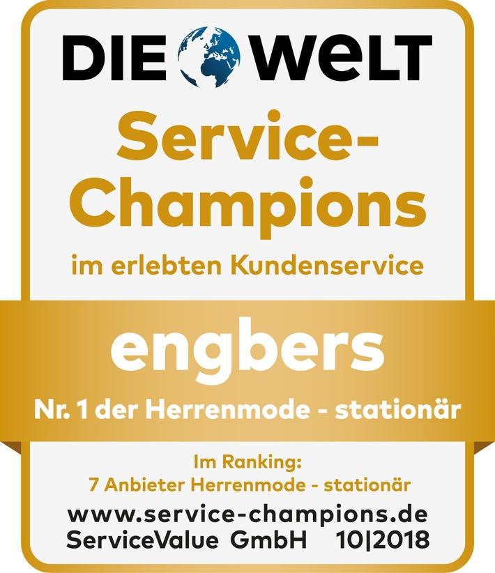 """Gelebte Servicewelt: engbers ist Service-Champion 2018!engbers ist die Nr. 1 der Studie """"Service-Champions 2018"""" in der Branche """"Herrenmode - stationär"""". Das klimaneutrale Familienunternehmen aus dem nordrhein-westfälischen Gronau ließ die sechs Konkurrenten aus der selben Kategorie hinter sich und belegte einen Gold-Medaillenrang im branchenübergreifenden Gesamtranking aller Unternehmen. Weiterer Text über ots und www.presseportal.de/nr/80855 / L'usu di stu ritrattu hè senza di u prugettu edituriale. Please ricurriri a surghjente: """"obs/engbers GmbH & Co KG"""""""