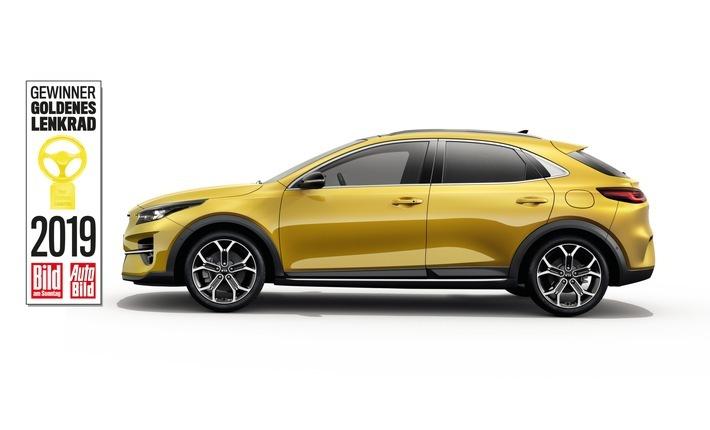 """Kia XCeed, Goldenes Lenkrad 2019 (Bestes Auto unter 35 000 Euro). Weiterer Text über ots und www.presseportal.de/nr/33685 / Die Verwendung dieses Bildes ist für redaktionelle Zwecke honorarfrei. Veröffentlichung bitte unter Quellenangabe: """"obs/Kia Motors Deutschland GmbH"""""""