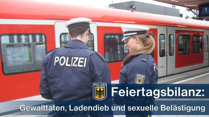 Mehrere Gewaltdelikte, ein Ladendieb hinter Gittern und eine Beleidigung auf sexueller Basis beschäftigten die Münchner Bundespolizei vor und am zurückliegenden Feiertag.