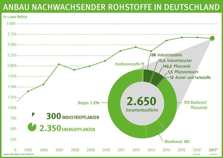 """Mit geschätzten 2,65 Millionen Hektar lag die Anbaufläche für nachwachsende Rohstoffe in Deutschland 2017 nur geringfügig niedriger als im Vorjahr. Damit produzieren Landwirte hierzulande seit vier Jahren auf nahezu gleichbleibendem Niveau Biomasse, vor allem für die Strom-, Wärme- und Biokraftstofferzeugung, aber auch für die stoffliche Nutzung. Gemeinsam mit den Forstwirten liefern sie Deutschlands mengenmäßig wichtigsten erneuerbaren Energieträger sowie biobasierte Rohstoffe für Chemikalien und Produkte. Weiterer Text über ots und www.presseportal.de/nr/24901 / Die Verwendung dieses Bildes ist für redaktionelle Zwecke honorarfrei. Veröffentlichung bitte unter Quellenangabe: """"obs/FNR Fachagentur Nachwachsende Rohstoffe"""""""