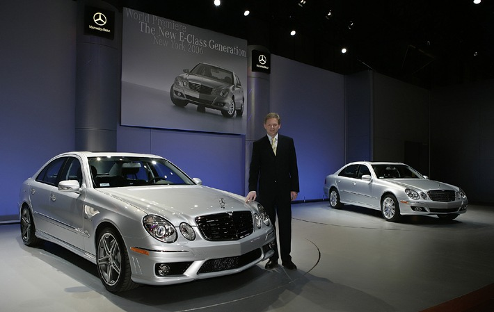 Dr. Klaus Maier, Executive Vice President Mercedes Car Group, responsible for Sales and Marketing (standing near the new E 63 AMG) presents the new generation E-Class at the New York International Auto Show 2006 - the cleanest, safest and strongest Mercedes-Benz E-class ever.