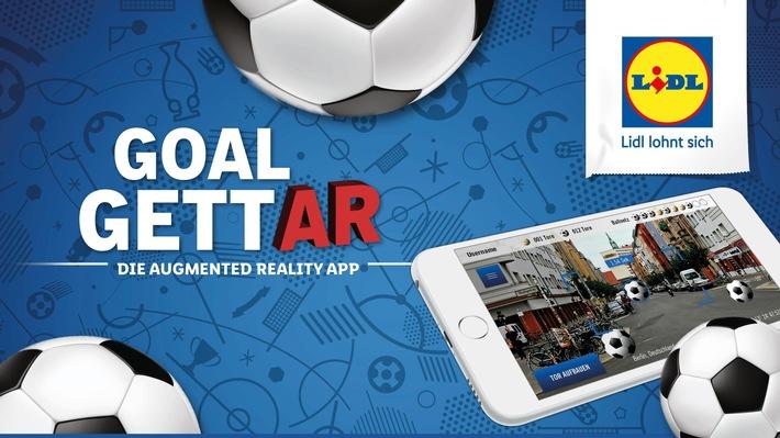 """Zur Fußball-WM veröffentlicht Lidl die kostenlose Augmented-Reality-App """"GoalgettAR"""" für interaktiven Spielspaß und exklusive Prämien. Weiterer Text über ots und www.presseportal.de/nr/58227 / Die Verwendung dieses Bildes ist für redaktionelle Zwecke honorarfrei. Veröffentlichung bitte unter Quellenangabe: """"obs/LIDL/Lidl"""""""