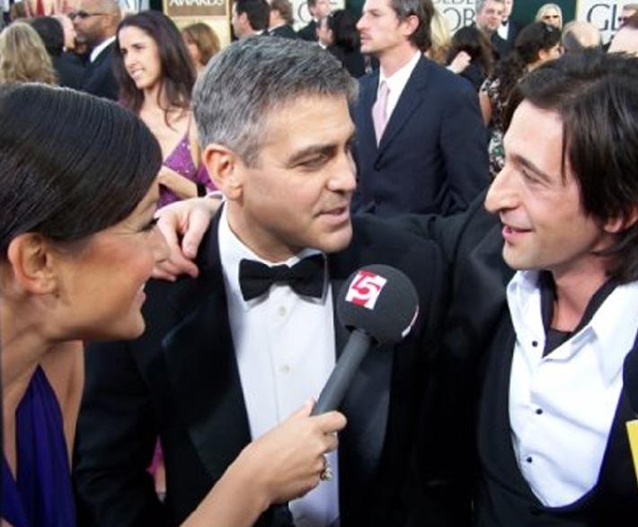 Miriam Pielhau mit George Clooney und Adrien Brody bei der Golden Globe-Verleihung 2006