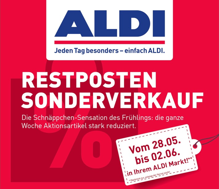 """ALDI Nord Restposten Sonderverkauf / Weiterer Text über ots und www.presseportal.de/nr/112106 / Die Verwendung dieses Bildes ist für redaktionelle Zwecke honorarfrei. Veröffentlichung bitte unter Quellenangabe: """"obs/ALDI Nord"""""""