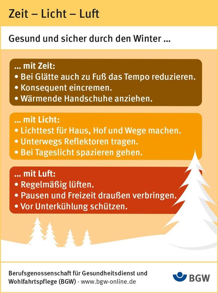 So kommen Sie gesund und sicher durch den Winter. / Die Verwendung der Infografik ist nur im redaktionellen Zusammenhang mit dieser Pressemitteilung gestattet. Die Verwendung der Infografik ist für redaktionelle Zwecke honorarfrei. Veröffentlichung bitte unter Quellenangabe: BGW. Weiterer Text über ots und www.presseportal.de/nr/77149
